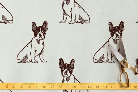 Bulldog Loves You Fabric