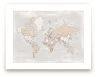 Rustic distressed world map