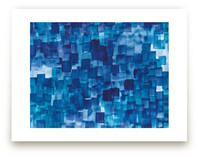 Blue One Watercolor Abstract Wall Art Prints