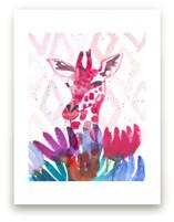 Giraffe with Wild Flowe... by Kim Johnson