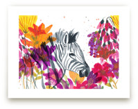 Zebra and Spring Flower... by Kim Johnson