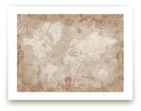 Vintage world map with... by Rosana Laiz · Blursbyai