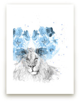 Lion and Blue Flowers by Kim Johnson