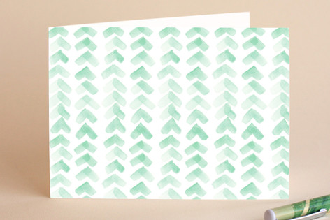 Chevron Mint Greeting Cards