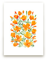 Watercolor California poppies bouquet