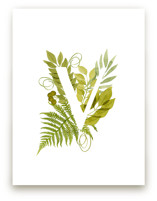 Floral Monogram with Fe... by Helga Wigandt