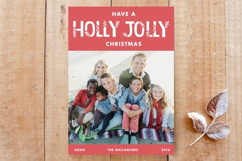 Herringbone Holly Jolly Custom Stationery