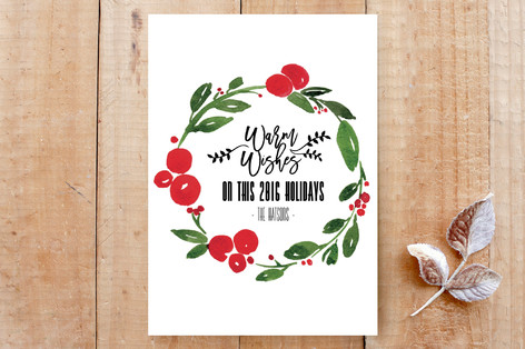 Christmas watercolor wreath Custom Stationery
