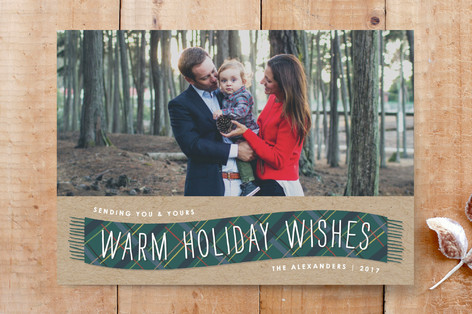Plaid Winter Scarf Photo Card Custom Stationery