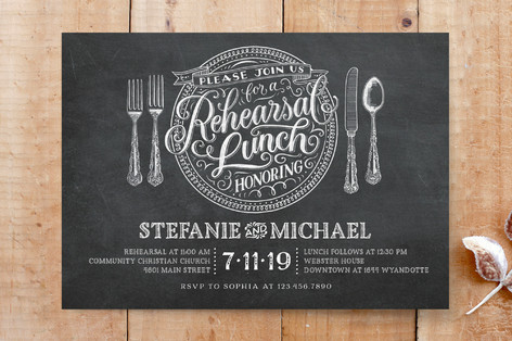 Chalkboard Lunch Place Setting Custom Stationery
