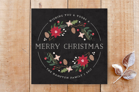 Holiday Floral Wreath Non-Photo Card Custom Stationery