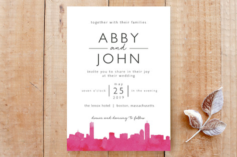 Skyline Boston Wedding Invitation Custom Stationery