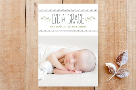 Curlicues Birth Announcement Custom Stationery
