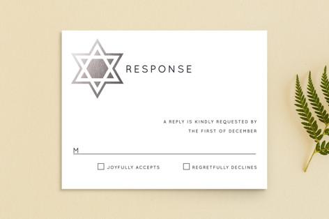 Shining Star Foil-Pressed Mitzvah RSVP Cards