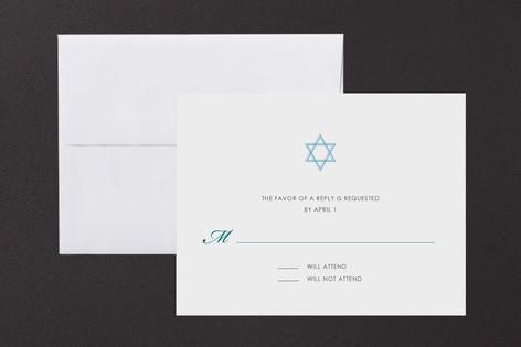 Simple Star Mitzvah RSVP Cards