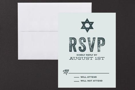 Hand Stamped Mitzvah RSVP Cards