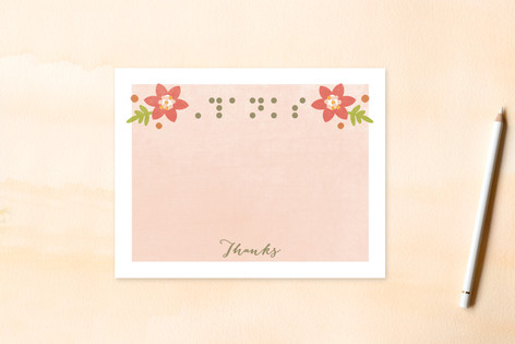 Braille Thanks Women's Flat Stationery