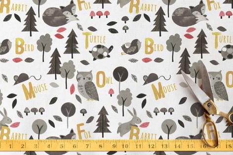 Woodland Animals Alphabet Fabric