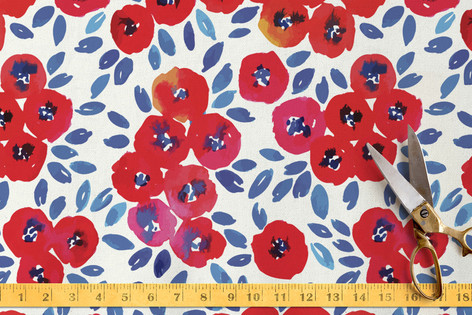 Cute Red Little Flowers Fabric