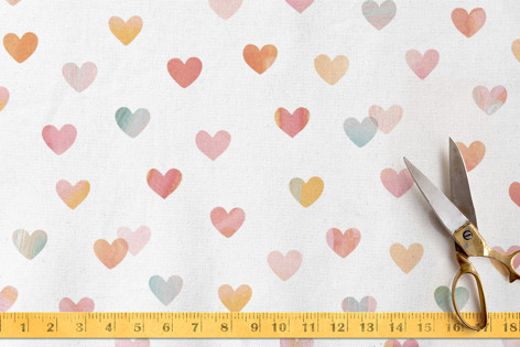 Painterly Hearts Fabric