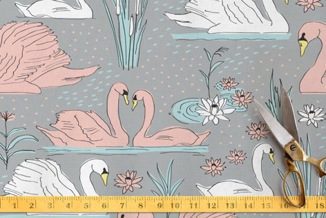 Swimming Swans Fabric