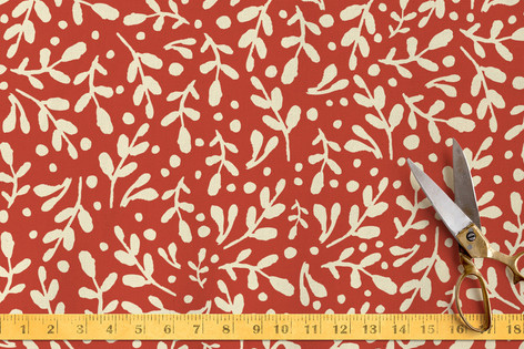 Winter Leaves & Berries Fabric