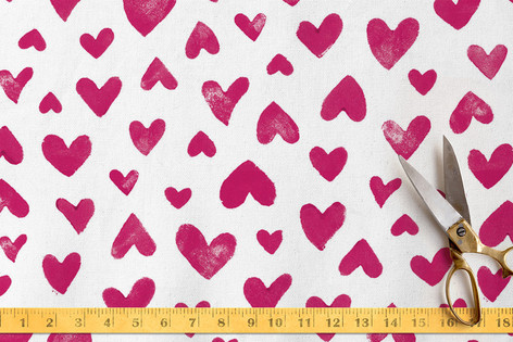 Hand Stamped Hearts Fabric