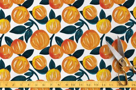 Watercolor Orange Garden Fabric