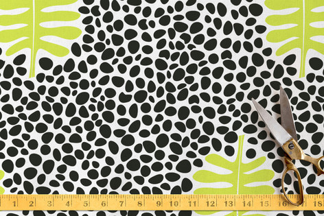 Cinnabar Leaves and Polka Dots Fabric