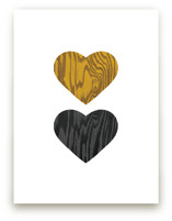 Wood Grain Hearts Art Prints
