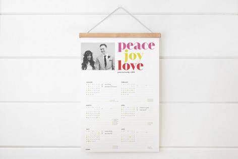 bold peace joy love Hanging Bar Calendar