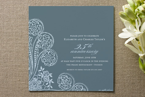 Spanish Lace Anniversary Party Invitations Cards by annie clark