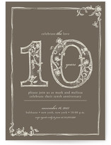 Sweet Sketch Anniversary Party Invitations Cards