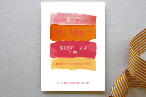 Watercolor Strokes Party Invitations