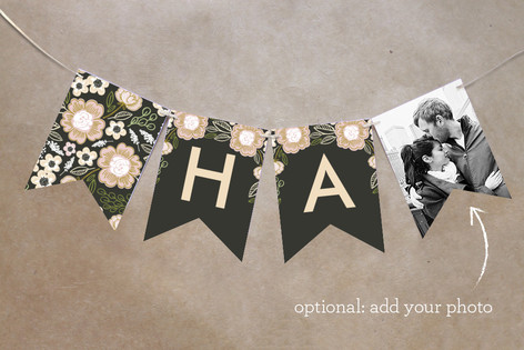 Botanical Wreath Personalizable Bunting Banner