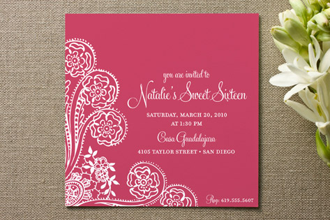 Spanish Lace Adult Birthday Party Invitations By A Minted
