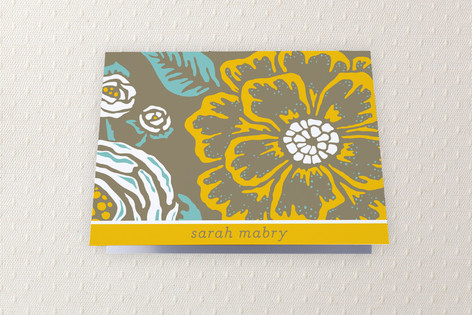 Vintage Blooms Folded Personal Stationery