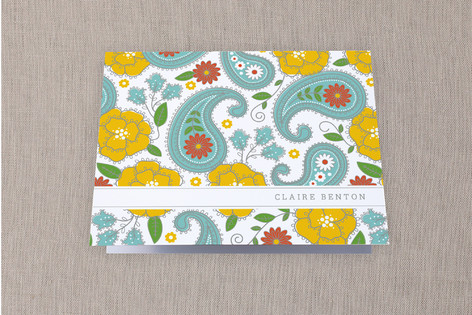 Pop of Paisley Folded Personal Stationery