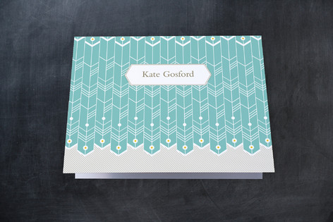 Pinned Feathers Folded Personal Stationery