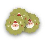 Happy Santa Scalloped Stickers