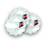 Kite Party Scalloped Stickers