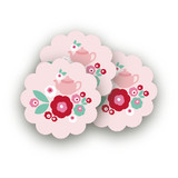 Retro Floral Garden Scalloped Stickers