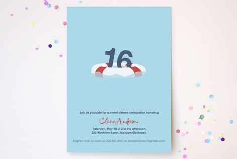 Lifesaver Sweet Sixteen Party Invitations