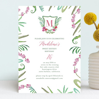 Tropical Crest Sweet Sixteen Party Invitations
