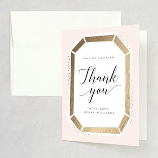 Emerald Cut Foil-Pressed Bridal Shower Thank You Cards
