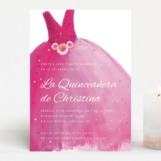 Party Gown Quinceañera Invitations