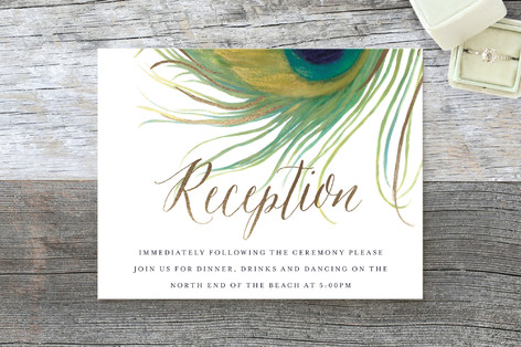 Peacock Foil-Pressed Reception Cards