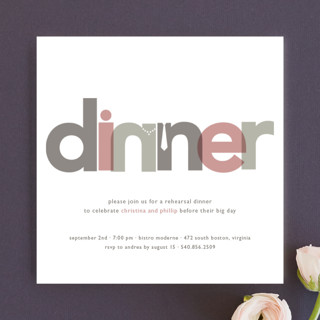 This interesting rehearsal dinner party invitation is a playful and clever