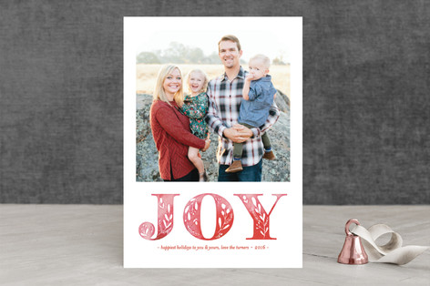 Watercolor Botanical Joy Christmas Photo Cards