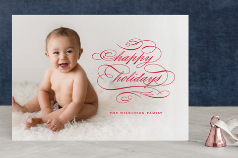 Scrolling Script Christmas Photo Cards